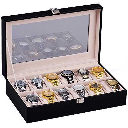 hsr-glass-lid-12-watch-jewellery-display-storage-box-case-bracelet-tray-faux-leather-black