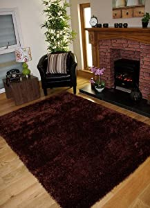 Ribbons Rich Chocolate Brown Deep Pile Soft Thick Modern Shine Shaggy Rug - 4 Sizes from The Rug House
