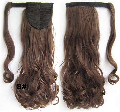 "A.H Fashion 22"" Long Curly Natural Ponytail Hair Design For You #8 Light Brown Hair Extension"