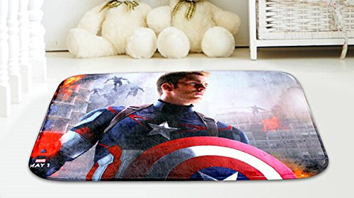 New Captain America Short Carpet Mats Cover Non-Slip Machine Washable Outdoor Indoor Bathroom Kitchen Decor Rug ,