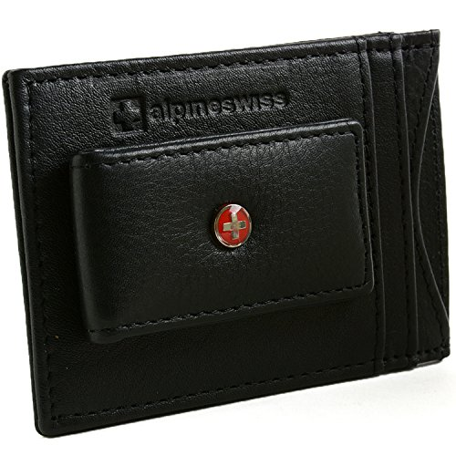Alpine Swiss RFID Blocking Magnetic Money Clip Leather Front Pocket Wallet Black (Mens Wallets Id Protection compare prices)