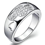 Women Wedding Rings Silver Plated Cubic Zirconia Heart Rings for Engagement Size 6 by Aienid