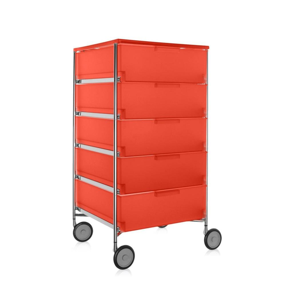 Kartell 2034L4 Container Mobil, 5 Schubladen, dunkelorange