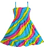 Girls Dress Rainbow Smocked Halter Children Clothing Sz 2-10