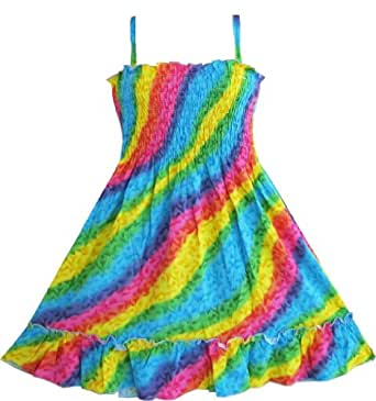 Sunny Fashion Girls Dress Rainbow Smocked Halter Size 2-3