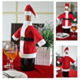 Christmas Santa Suit Hat Wine Bottle Wrap Cover Topper Pouch Bag