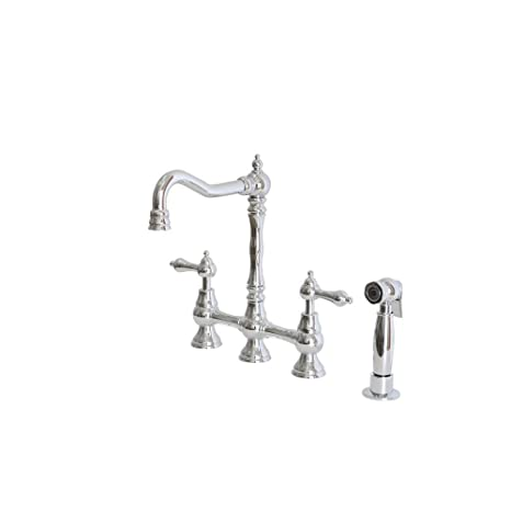 Belle Foret CP-WH27215 2-Handle High-Arc Bridge Kitchen Faucet with Metal Lever Handles in Chrome