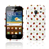 Samsung Galaxy Ace Plus S7500 Strawberry Print Soft Rubber Jelly Case Cover for Plus Free Screen Protector & Screen Polishing Cloth