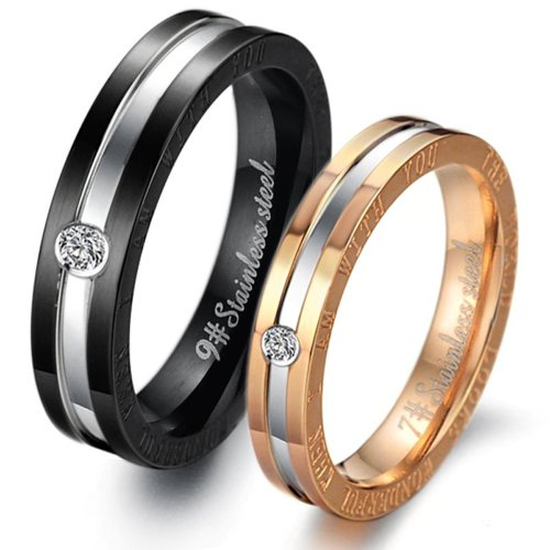 Love Couple Rings Stainless Steel Finger Crystal Set Band Jewelry Wedding Gj306 (Men's Ring, 9)