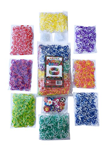 3200 Tie Dye Rainbow Loom Band Refill Kit - 8 Brilliant Tie Dye Colored Rubber Bands Conveniently Separated - 400 of Each Mixed Color - FREE BONUS 100+ Clips and 50+ Charms - Refill your Rainbow Loom Bands Organizer Today!