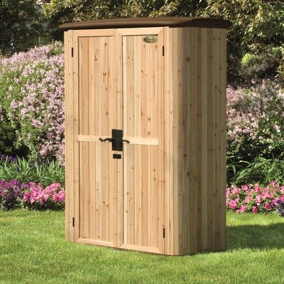 Lifetime sheds suncast wood resin vertical shed discount for Resin garden shed