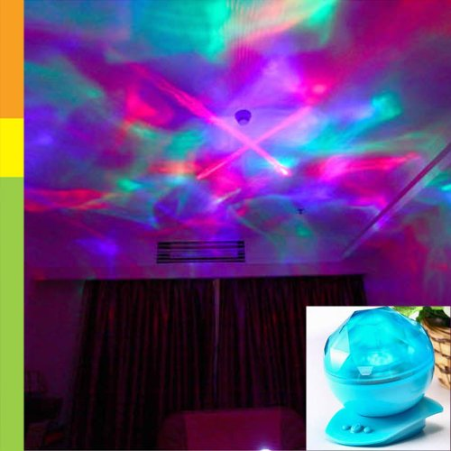 Blue - Usb Rechargeable Color Changing Led Laser Show Aurora Projection Mood Lamp Night Light Speaker