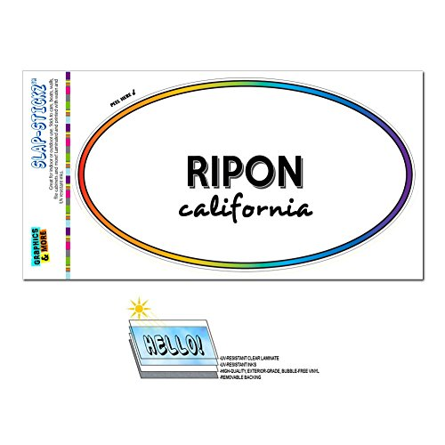 Rainbow Euro Oval Window Laminated Sticker California CA City State Pac - Riv - Ripon (City Of Ripon Ca compare prices)