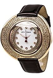 Betsey Johnson BJ00486-03 Women's White MOP Dial Brown Leather Strap Crystal Watch