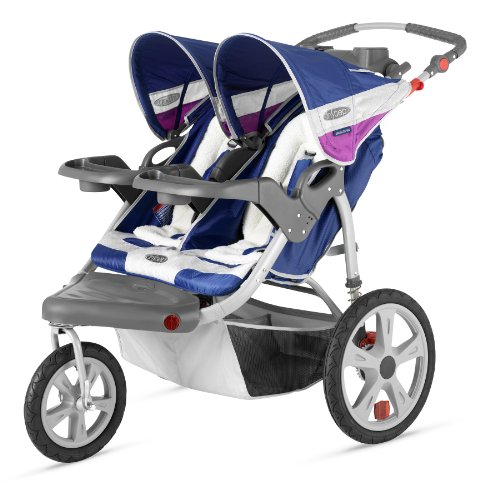 InStep Grand Safari Double Swivel Stroller, Blue/Grape