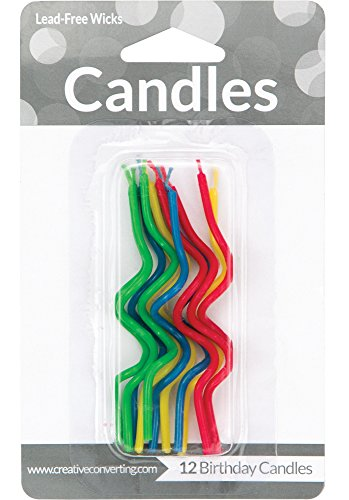 Creative Converting 12 Count Crazy Curl Birthday Cake Candles, Primaries, Assorted