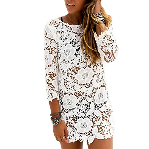 online shopping Women Lace Crochet Bikini Swimwear Cover Up Beach Dress (L, White)
