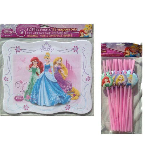 "Disney Princess 12 Pack Paper Placemats(13""x10.5""), Disney Princess 18 Pack Bendy Straws with Printed Princess Characters----disney Princess Party Decorations"