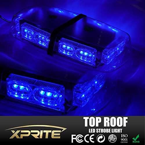 Xprite Gen 3 Blue 36 LED 18 Watts High Intensity Law Enforcement Emergency Hazard Warning LED Mini Bar Strobe Light with Magnetic Base (Emergency Blue Light Bar compare prices)