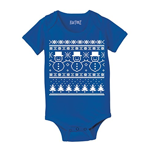 Ugly Sweater Snow Man Humor Christmas - Baby One Piece - Royal Blue - 18 Months