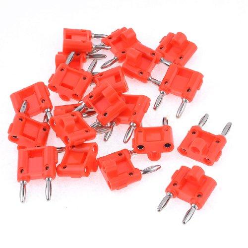 20 Pcs Red Speaker Connectors Screw Type Dual Ports Banana Plug