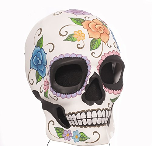 [73720 (O/S) Flowered Male Day Of Dead Mask Full Face] (Day Of The Dead Female Mask)