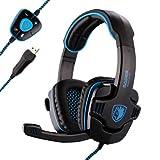 Sades Stereo 7.1 Surround Pro USB Gaming Headset with Mic Headband Headphone (Black)