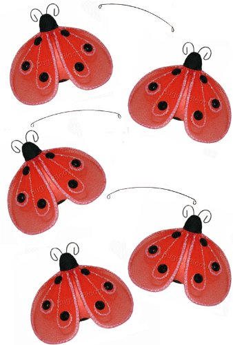 Red Black Shimmer Ladybug Mobile Decorations - hanging nylon nursery bedroom girls room ceiling wall decor, wedding birthday party baby bridal shower