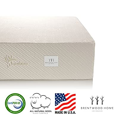 Brentwood Home 11-Inch Gel HD Memory Foam Mattress, Made in USA, CertiPUR-US, 25 Year Warranty, Natural Wool Sleep Surface and Bamboo Cover by Brentwood Home