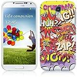 Samsung Galaxy S4 IV i9500 Hülle TPU / Gel / Silikon Hülle Cover - Comic Muster Schutzhülle für Samsung Galaxy S4 i9500 - Weiß und Rot, Lila, Pink, Rosa, Blau und Grün