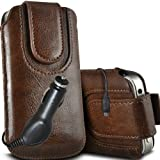 Fone-Case Huawei Ascend G615 Protective PU Leather Magnetic Pull Cord Slip In Pouch Quick Release Case & 12v Micro USB In Car Charger (Brown)