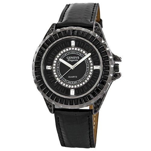 Geneve Elegante Unisex 5154_gunmetal Swarovski Crystal Leather Watch