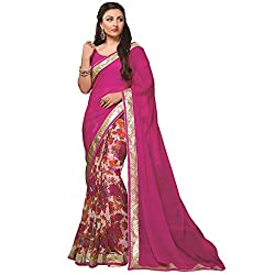 First Rate Pink Printed Sarees