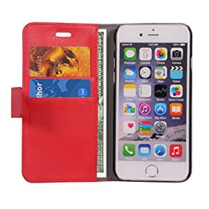 iPhone 6 Flip Cover, Dr Chen Leather Flip Cover Wallet Case With Magnetic Closure -Red