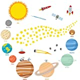 Educational Solar System Wall Decals - Fun Planets in Space Wall Stickers - Space Exploration by treepenguin