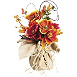 Cypress Home Polyester Poppy Burlap Tabletop Floral Decor