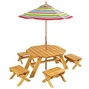 Outdoor Table Set w/ Umbrella Made of weather-resistant wood 4 stools by MegaDeal
