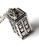 Doctor Who 3D TARDIS Police Box Pewter Tall Long Chain Pendant Necklace