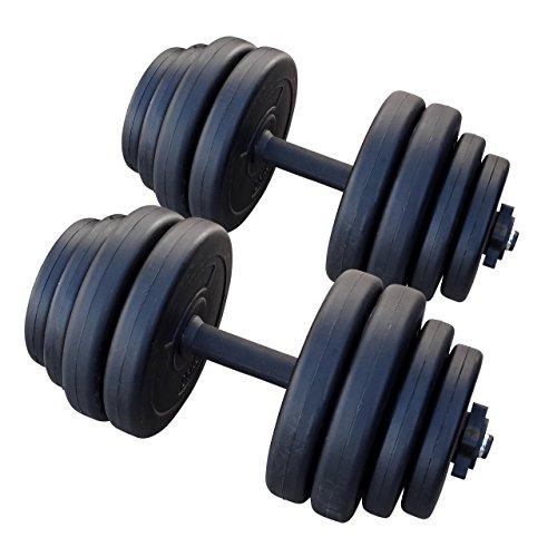 ダンベル15kg (2個セット 合計30kg) 【筋力トレーニング/ダイエット/シェイプアップ/ポリエチレン製/静音/トレーニングに集中】
