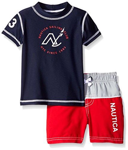 Nautica Baby Short Sleeve Rashguard New Logo Set, Sport Navy, 12 Months