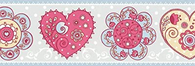 As Cration Border With Hearts Blue And Pink by A.S. Creation