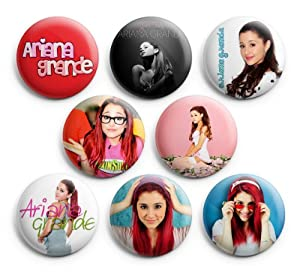 Ariana Grande Singer Pin Badges Button, 1.25 inches, 8pcs, New
