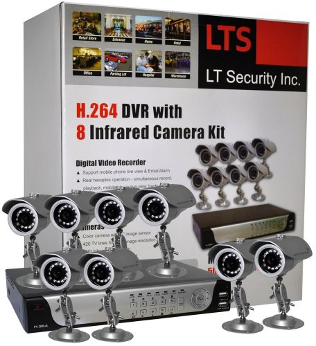 LTS LTD08HTDK 8-Camera H.264 Realtime DVR Security System with 500GB, Mobile Phone Live View, VGA output