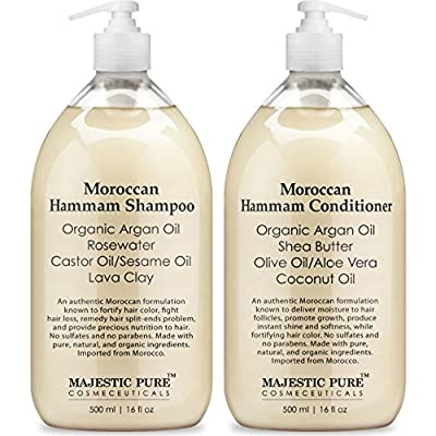 Moroccan Hammam Shampoo and Conditioner Set From Majestic Pure; 100% Natural with Organic Argan Oil, For Men & Women, Sulfate Free - No Parabens, 2 x 16oz