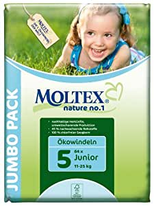 Moltex Nature No1 Eco Nappy Junior Size 5 (11-25 kg/24-55 lb)--Pack of 64 Nappies