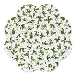 "Holly Round Dollies- 12"" 6ct - 1"