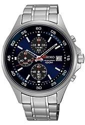 Seiko Quartz Blue Dial Stainless Steel Chronograph Men's Watch SKS475