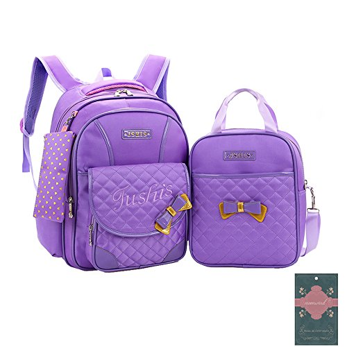 fe40f41f41 Moonwind 3pcs Sweet Bow Princess Waterproof Girls School Backpack Book Bag  and Pencil Lunch Bag Set