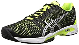 ASICS Men\'s Gel-Solution Speed 2 Tennis Shoe,Onyx/Flash Yellow/Silver,11 D(M) US