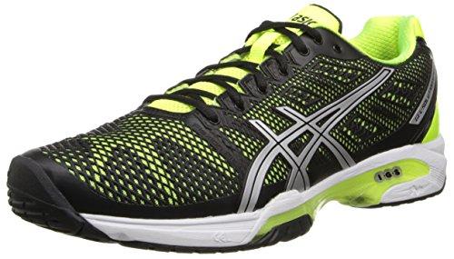 ASICS Men's Gel-Solution Speed 2 Tennis Shoe,Onyx/Flash Yellow/Silver,11.5 D(M) US